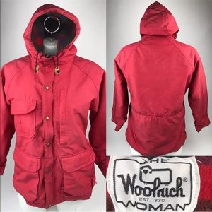 Vtg WOOLRICH Wool Lined Red Hooded Jacket USA